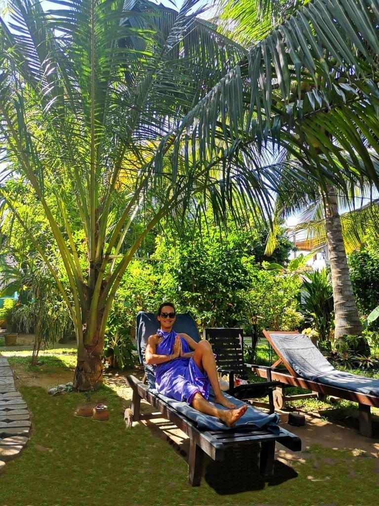 Ruheplatz im Garten der Ayurveda Villa Sarana